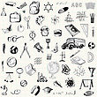 Set Of Doodle Education Icons On Checkered Paper Sheet