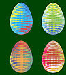 Set Of Easter Eggs With Different Dotted Ornaments Isolated On Green Background