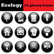 Set Of Ecological Glossy Icons. EPS 10 Vector Illustration