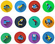Set Of Electrical Work Tools Icons In Flat Design. EPS 10 Vector Illustration With Transparency