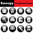 Set Of Energy Glossy Icons. EPS 10 Vector Illustration