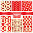 Set Of Fabric Textures With Different Lattices - Seamless Patterns stock vector
