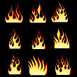 Set Of Fire Vector Icons