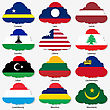 Set Flags Of World Sovereign States In Form Clouds. Vector Illustration. Set Number 9. Exact Colors. Easy Changes