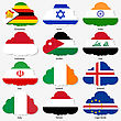 Set Flags Of World Sovereign States In Form Clouds. Vector Illustration. Set Number 6. Exact Colors. Easy Changes