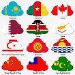 Set Flags Of World Sovereign States In Form Clouds. Vector Illustration. Set Number 7. Exact Colors. Easy Changes