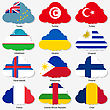 Set Flags Of World Sovereign States In Form Clouds. Vector Illustration. Set Number 16. Exact Colors. Easy Changes