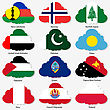 Set Flags Of World Sovereign States In Form Clouds. Vector Illustration. Set Number 12. Exact Colors. Easy Changes