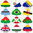 Set Flags Of World Sovereign States In Form Clouds. Vector Illustration. Set Number 3. Exact Colors. Easy Changes
