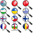 Set Flags Of World Sovereign States Magnifying Glass. Vector Illustration. Set Number 16. Exact Colors. Easy Changes
