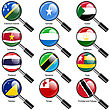 Set Flags Of World Sovereign States Magnifying Glass. Vector Illustration. Set Number 15. Exact Colors. Easy Changes