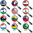 Set Flags Of World Sovereign States Magnifying Glass. Vector Illustration. Set Number 9. Exact Colors. Easy Changes