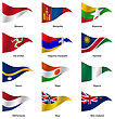 Set Flags Of World Sovereign States Triangular Shaped. Vector Illustration
