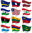Set Flags Of World Sovereign States. Vector Illustration. Set Number 9. Exact Colors. Easy Changes