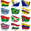 Set Flags Of World Sovereign States. Vector Illustration. Set Number 3. Exact Colors. Easy Changes