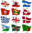 Set Flags Of World Sovereign States. Vector Illustration. Set Number 5. Exact Colors. Easy Changes