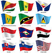Set Flags Of World Sovereign States. Vector Illustration. Set Number 14. Exact Colors. Easy Changes