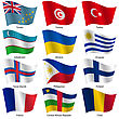 Set Flags Of World Sovereign States. Vector Illustration. Set Number 16. Exact Colors. Easy Changes