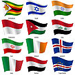 Set Flags Of World Sovereign States. Vector Illustration. Set Number 6. Exact Colors. Easy Changes