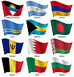 Set Flags Of World Sovereign States. Vector Illustration. Set Number 2. Exact Colors. Easy Changes