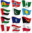 Set Flags Of World Sovereign States. Vector Illustration. Set Number 12. Exact Colors. Easy Changes