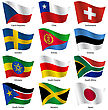 Set Flags Of World Sovereign States. Vector Illustration. Set Number 17. Exact Colors. Easy Changes