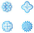 Set Of Four Blue Flower Abstract Logo Designs. Vector Template Icon. Can Be Used For Medicine, Beauty Or Sport Business Company