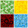 Set Of Four Floral Background, Isolated And Grouped Objects Over White