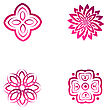 Set Of Four Pink Flower Abstract Logo Designs. Vector Template Icon. Can Be Used For Medicine, Beauty Or Sport Business Company