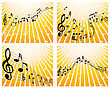 Set Of Four Vector Musical Notes Staff
