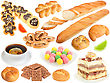 Set Of Fresh Bread And Sweets Close-up Studio Photography stock photo