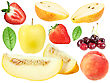 Set Of Fresh Fruits And Berryes Close-up Studio Photography stock image