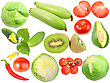 Set Of Fresh Fruits And Vegetables Close-up Studio Photography