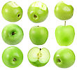 Set Of Fresh Green Apples For Your Design Close-up Studio Photography