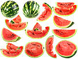 Set Of Fresh Slices And Full A Ripe Watermelons Close-up Studio Photography