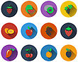 Set Of Fruit Icons In Flat Design. EPS 10 Vector Illustration With Transparency
