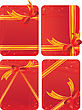 Set Of Gift Cards - Red Backgrounds With Hearts - With Gift Golden And Red Bows. Empty Space For Your Text