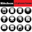 Set Of Glossy Kitchen Equipment Glossy Icons. EPS 10 Vector Illustration