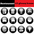 Set Of Glossy Restaurant Icons. EPS 10 Vector Illustration