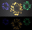 Set Of Isolated Golden Fireworks On Black And Transparent Backdrop - Vector