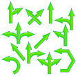 Set Of Green Arrows Isolated On White Background