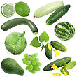Set Of Green Fruits And Vegetables Close-up Studio Photography stock photo