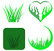 Golf Set Of Green Grass Icons Isolated On White Background stock vector