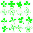 Set Of Green Leaves Icons Isolated On White Background. Symbols Of Patricks Day. Green Shamrocks stock vector