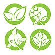 Set Of Green Leaves Round Stickers. Vector Illustration.