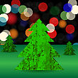 Set Of Green Polygonal Trees On Blurred Background. Green Pines
