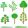 Set Of Green Trees Isolated On A White Background stock vector