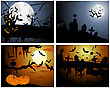 Set Of Halloween Greeting Cards. Elegant Design With Pumpkin, Moon, Tree, Grave, Castle, And Cats Over Grunge Dark Sky Background. Vector Illustration