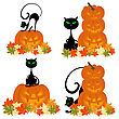 Set Of Halloween Greeting Cards. Elegant Design With Black Cats, Pumpkin And Maple Leaves Over White Background. Vector Illustration