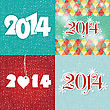 Set Happy New Year 2014 Greeting Card In Blue And White Colors